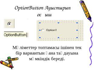 OptionButton Ауыстырып қосқыш Мәліметтер топтамасы ішінен тек бір вариантын ғ