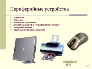 Периферийные устройства Принтеры Сканеры Манипуляторы мышь Джойстик, микрофон