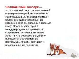 Челябинский зоопарк — зоологический парк, расположенный в центральном районе