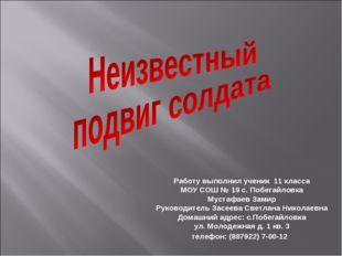 Работу выполнил ученик 11 класса МОУ СОШ № 19 с. Побегайловка Мустафаев Замир