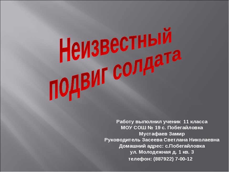 Работу выполнил ученик 11 класса МОУ СОШ № 19 с. Побегайловка Мустафаев Замир...
