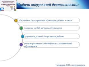 Мащенко О.Н., преподаватель педагогики Задачи внеурочной деятельности: учет в