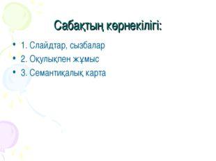 Сабақтың көрнекілігі: 1. Слайдтар, сызбалар 2. Оқулықпен жұмыс 3. Семантиқалы
