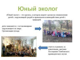 «Юный эколог» - это кружок, в котором акцент сделан на ознакомление детей с о