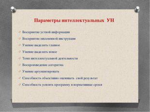 Параметры интеллектуальных УН Восприятие устной информации Восприятие письмен