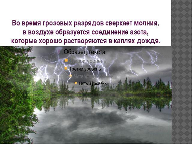 Во время грозовых разрядов сверкает молния, в воздухе образуется соединение а...