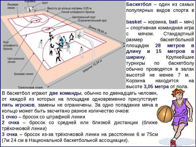 Баскетбол – один из самых популярных видов спорта в мире. Баскетбо́л (англ. b...