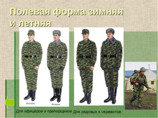 Полевая форма зимняя и летняя Для офицеров и прапорщиков Для рядовых и сержан