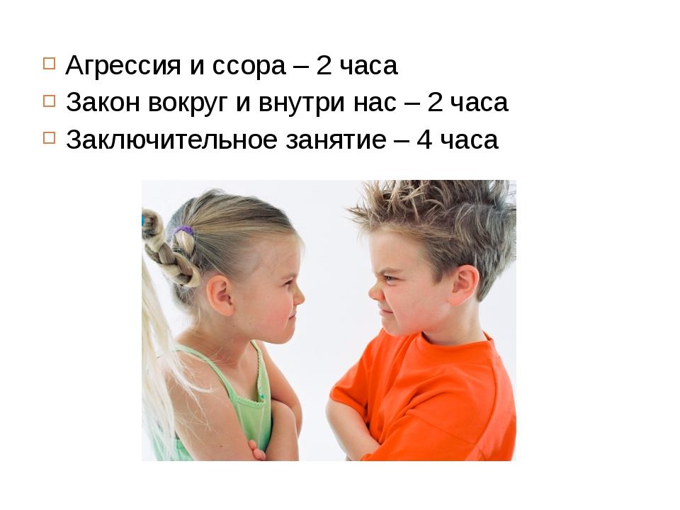 Агрессия и ссора – 2 часа Закон вокруг и внутри нас – 2 часа Заключительное з...