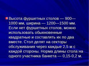 Высота фуршетных столов — 900—1000 мм, ширина — 1200—1500 мм. Если нет фуршет