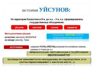 ИСТОРИЯ УЙСУНОВ: Места расселения уйсунов: На территории Казахстана в III в.