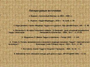 Литературные источники: 1. Журнал. «Кукольный Мастер» за 2003 – 2009 г.г. 2.