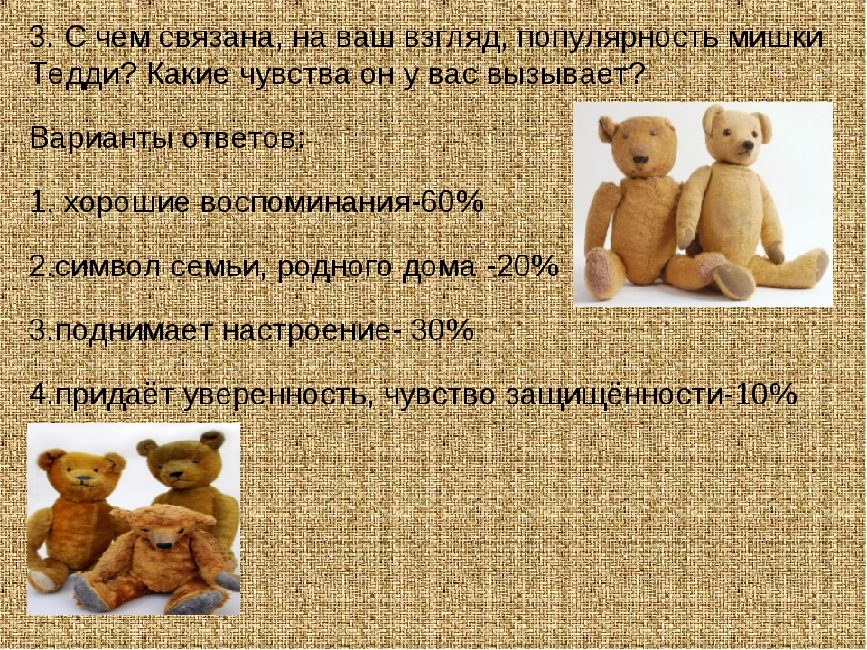 3. С чем связана, на ваш взгляд, популярность мишки Тедди? Какие чувства он у...