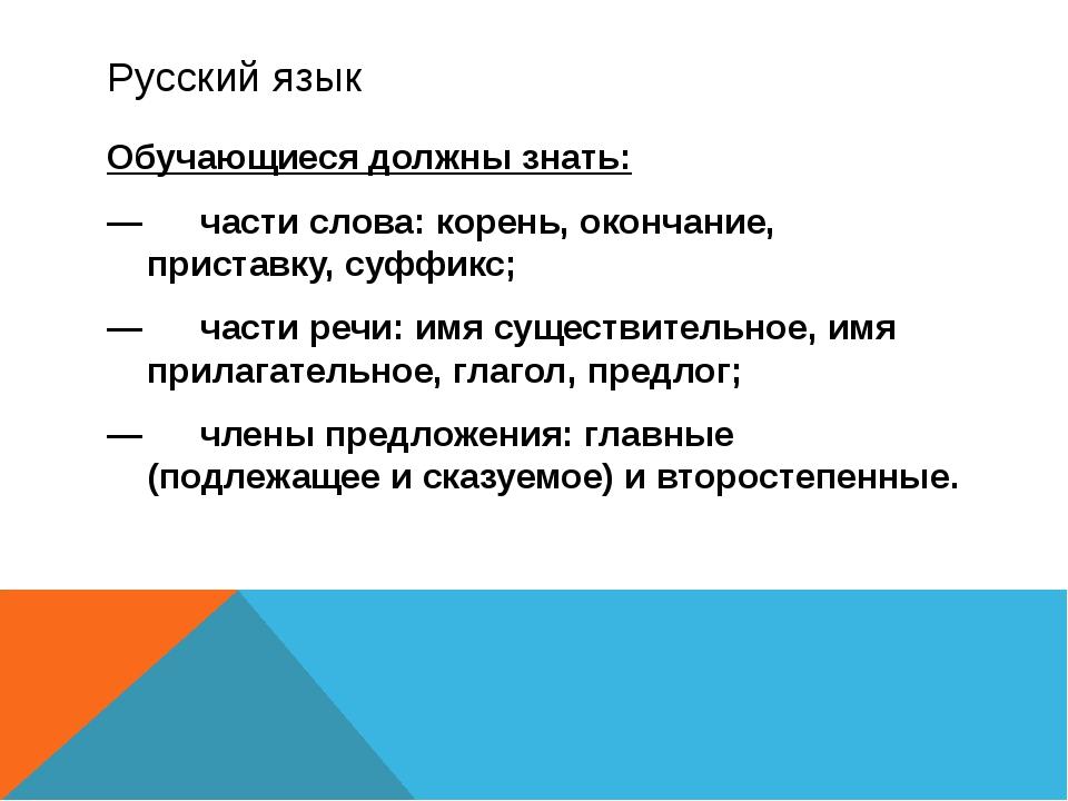 Русский язык Обучающиеся должны знать: —части слова: корень, окончание, прис...
