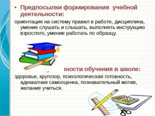 Предпосылки формирования учебной деятельности: ориентация на систему правил в