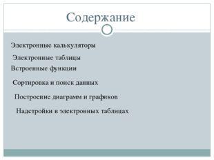 Содержание Электронные калькуляторы Электронные таблицы Встроенные функции Со