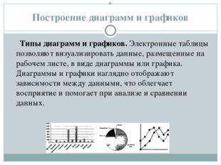 Построение диаграмм и графиков Типы диаграмм и графиков. Электронные таблицы