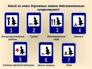 Какой из этих дорожных знаков действительно существует? Пляж Туалет Кемпинг Л