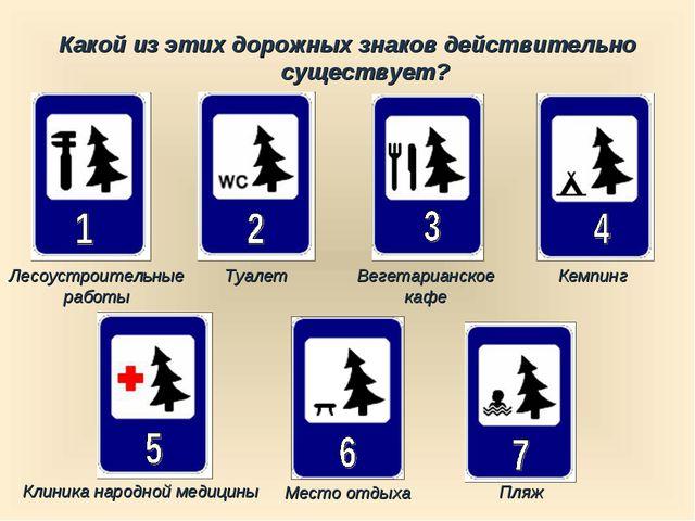 Какой из этих дорожных знаков действительно существует? Пляж Туалет Кемпинг Л...