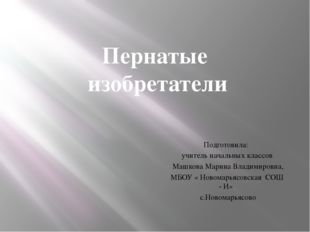 Подготовила: учитель начальных классов Машкова Марина Владимировна, МБОУ « Н