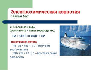 Электрохимическая коррозия стакан №2 2. Кислотная среда (окислитель – ионы во