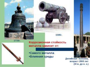 Коррозионная стойкость металла зависит от: Самого металла Влияния среды 1586г