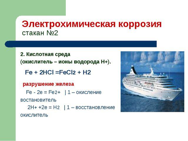 Электрохимическая коррозия стакан №2 2. Кислотная среда (окислитель – ионы во...