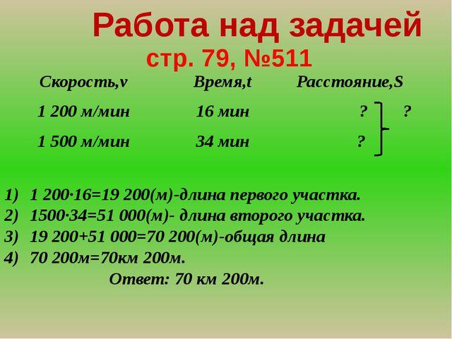 стр. 79, №511 Работа над задачей 1 200∙16=19 200(м)-длина первого участка. 1...