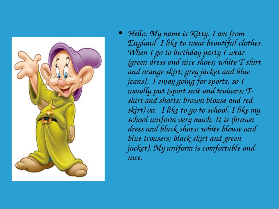 Hello. My name is Kitty. I am from England. I like to wear beautiful clothes....