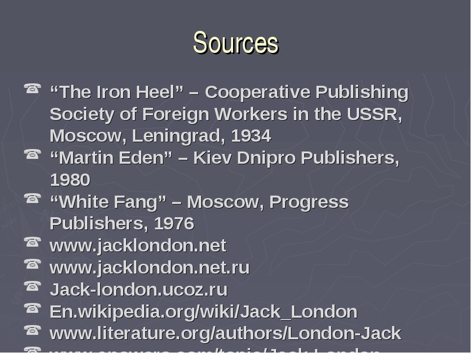 "Sources ""The Iron Heel"" – Cooperative Publishing Society of Foreign Workers i..."