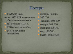 1 029 234 чел., из них 653 924 человека — убитыми и пленными 4171 танков и СА