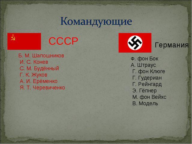 СССР Германия Б. М. Шапошников И. С. Конев С. М. Будённый Г. К. Жуков А. И. Е...
