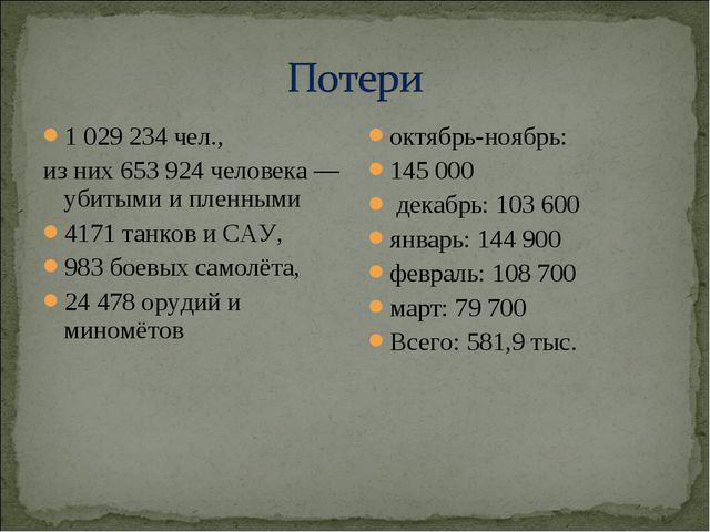 1 029 234 чел., из них 653 924 человека — убитыми и пленными 4171 танков и СА...
