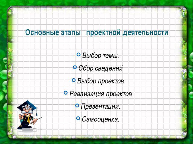 Основные этапы проектной деятельности Выбор темы. Сбор сведений Выбор проекто...
