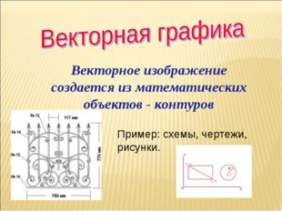 Векторное изображение создается из математических объектов - контуров Пример: