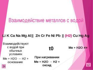 Взаимодействие металлов с водой t0 Li K Ca Na Mg Al   Zn Cr Fe Ni Pb  (H2)Cu