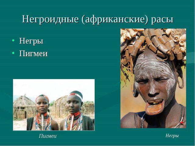 Негроидные (африканские) расы Негры Пигмеи Негры Пигмеи