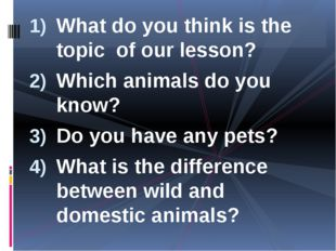 What do you think is the topic of our lesson? Which animals do you know? Do y