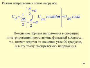 * Режим непрерывных токов нагрузки: Пояснение. Кривая напряжения в операции и