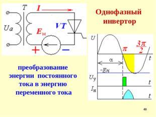 * Однофазный инвертор преобразование энергии постоянного тока в энергию перем