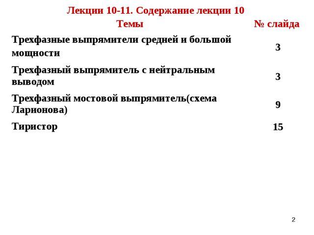 * Лекции 10-11. Содержание лекции 10 Темы№ слайда Трехфазные выпрямители сре...
