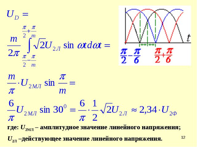 * где: U2MЛ – амплитудное значение линейного напряжения; U2Л –действующее зна...