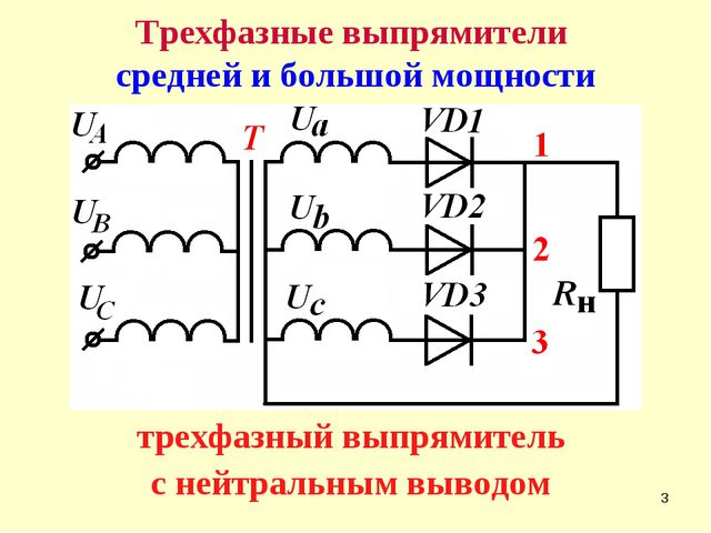 * Трехфазные выпрямители средней и большой мощности трехфазный выпрямитель с...