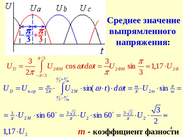 * Среднее значение выпрямленного напряжения: m - коэффициент фазности