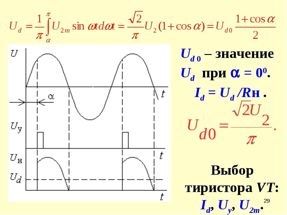 * Ud 0 – значение Ud при  = 00. Id = Ud /Rн . Выбор тиристора VT: Id, Uу, U2m.