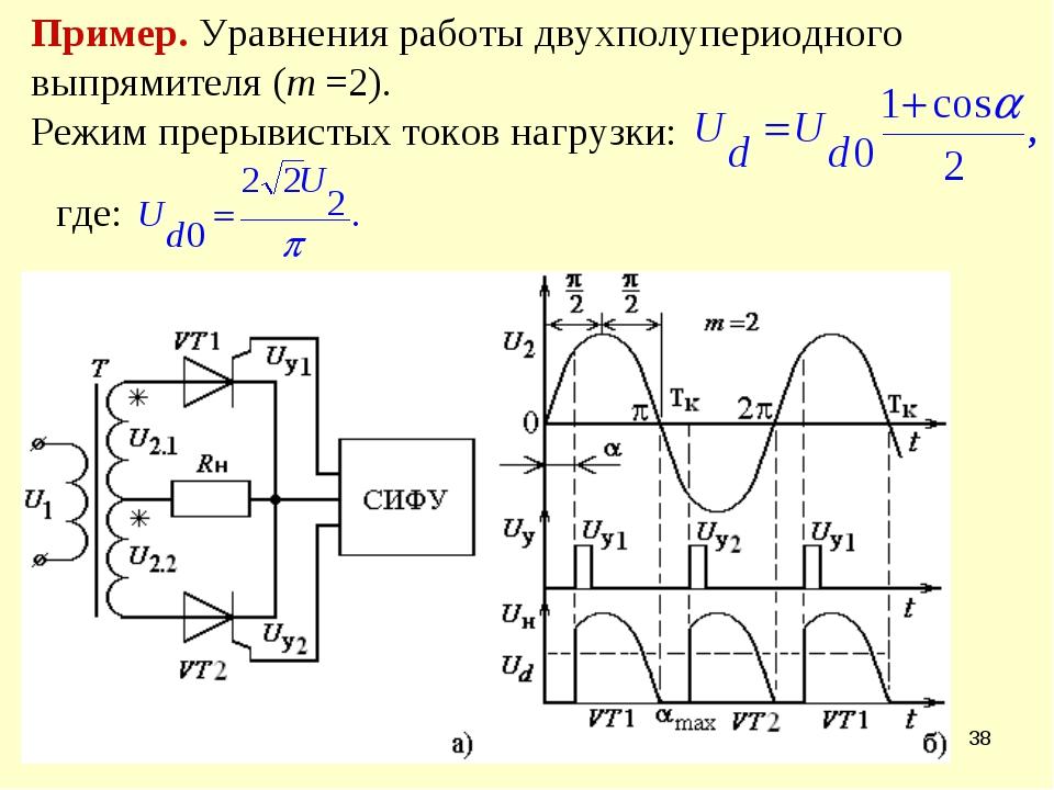 * Пример. Уравнения работы двухполупериодного выпрямителя (m =2). Режим преры...