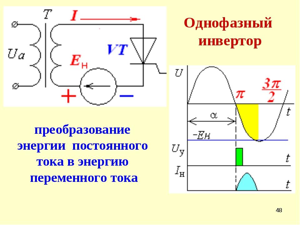 * Однофазный инвертор преобразование энергии постоянного тока в энергию перем...