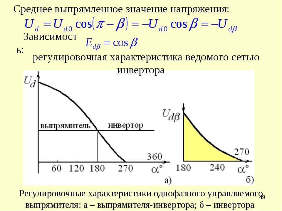 * Среднее выпрямленное значение напряжения: Зависимость: регулировочная харак...