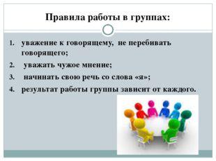 Правила работы в группах: уважение к говорящему, не перебивать говорящего; ув