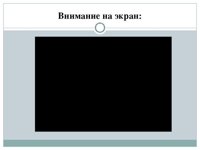 Внимание на экран: